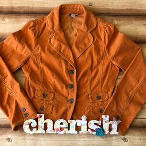 Ann Taylor Loft corduroy blazer. Orange.